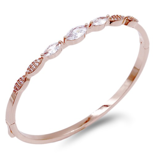 Rose Gold Plated With Clear CZ Bangle