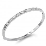 Rhodium Plated With Clear CZ Bangle