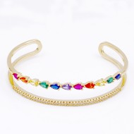 Gold Plated With Multi Color CZ Cuff Bracelets
