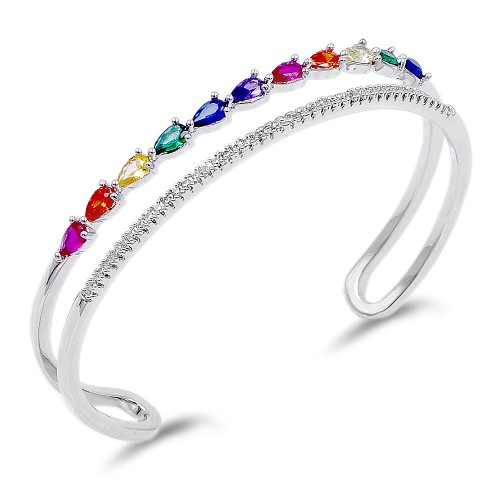 Rhodium Plated With Multi Color CZ Cuff Bracelets