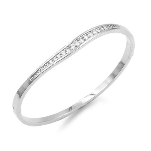 Rhodium Plated With Clear CZ Hinged  Bangles