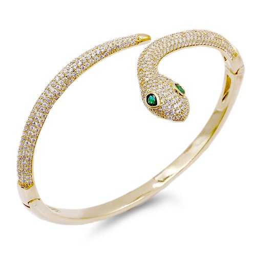 Gold Plated With Clear CZ Hinged Snake Bangles