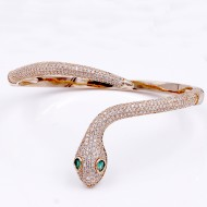 Rose Gold Plated With Clear CZ Hinged Snake Bangles