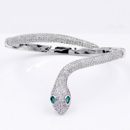 Rhodium Plated With Clear CZ Hinged Snake Bangles