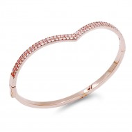 Rose Gold Plated With Clear CZ Hinged Bangles