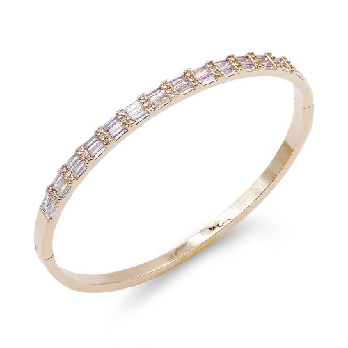 Gold Plated With Clear CZ Hinged Bangles