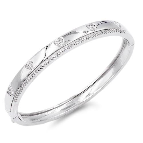 Rhodium Plated Heart CZ Stone Bracelet