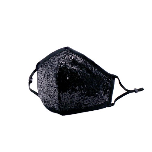 Shiny Black Sequin Fashion Mask With Adjustable Ear loop