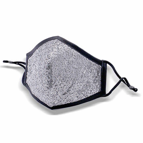 Shiny Silver Sequin Fashion Mask With Adjustable Ear loop