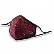 Red Fashion Mask Multi Colored Sequin w/. Adjust. Ear loop