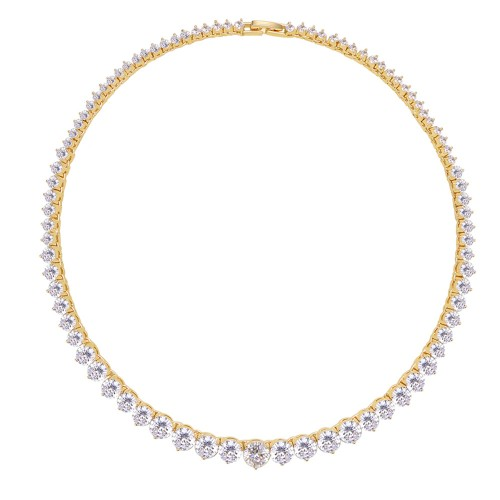 Gold Plated with Clear Cubic Zirconia Tennis Necklace