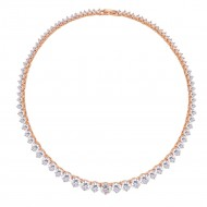 Rose Gold Plated with Clear Cubic Zirconia Tennis Necklace