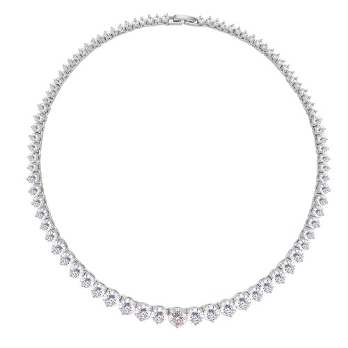 Rhodium Plated with Clear Cubic Zirconia Tennis Necklace