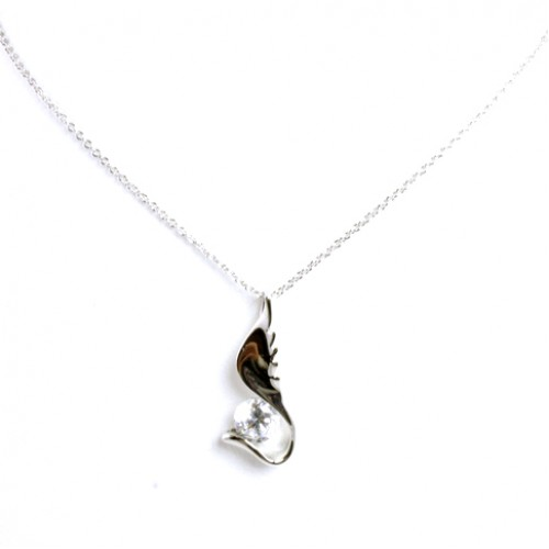 Rhodium Plated with Cubic Zirconia Necklaces