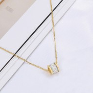 Gold Plated with Cubic Zirconia Round Circle Pendant Necklace