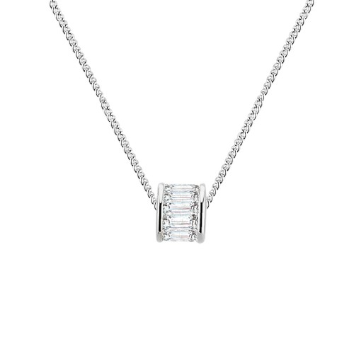 Rhodium Plated with Cubic Zirconia Round Circle Pendant Necklace