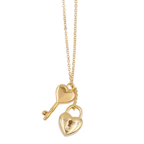 Gold Plated with Love Key and Lock Necklaces