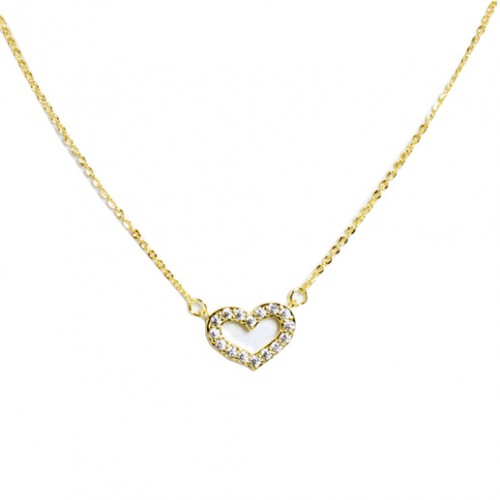 Gold Plated with Cubic Zirconia Heart Necklaces