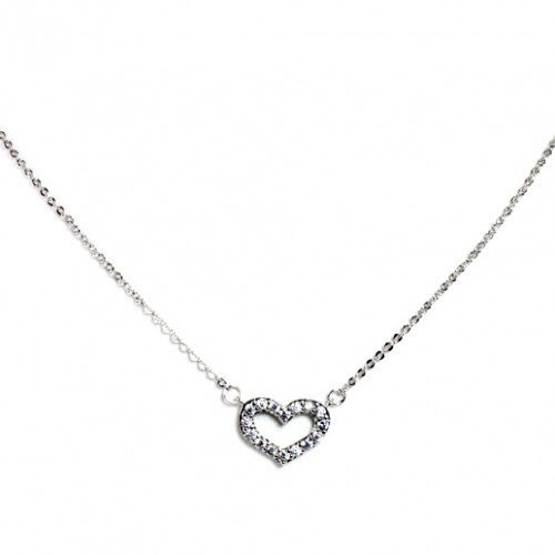 Rhodium plated with Cubic Zirconia Heart Necklaces