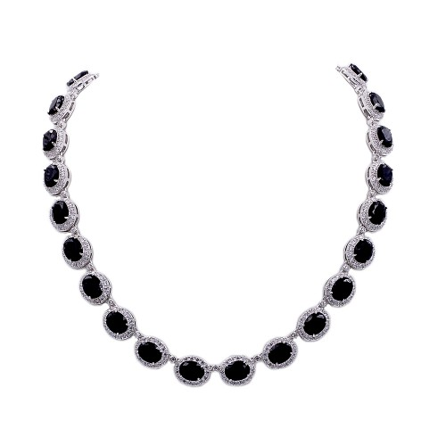 Rhodium Plated With Black Cubic Zirconia Halo Bridal & Proms Necklaces