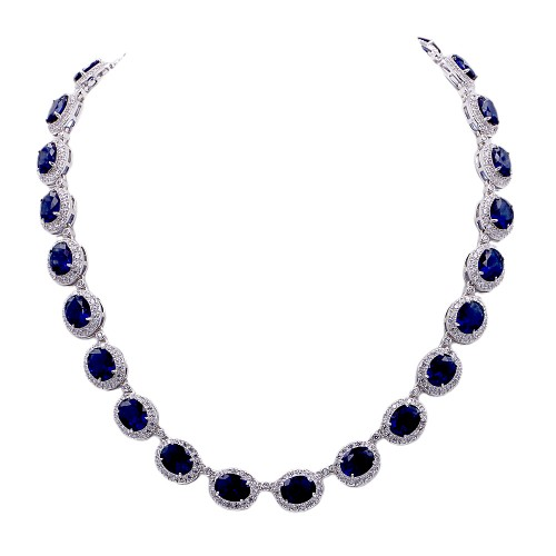 Rhodium Plated With Blue Sapphire Cubic Zirconia Halo Bridal & Proms Necklaces