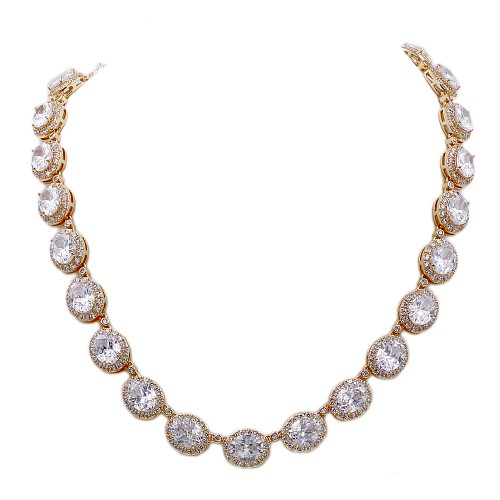 Gold Plated With Cubic Zirconia Halo Bridal & Proms Necklaces
