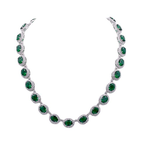 Rhodium Plated With Emerald Green Cubic Zirconia Halo Bridal & Proms Necklaces