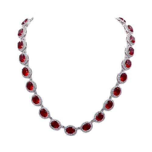 Rhodium Platd With Ruby Red Cubic Zirconia Halo Bridal & Proms Necklaces