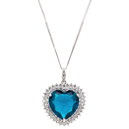 Rhodium Plated with Blue Cubic Zirconia Necklaces