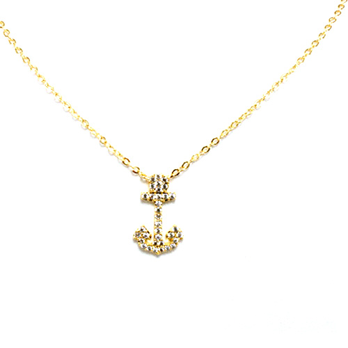 Gold Plated with Cubic Zirconia Anchor Pendant Necklaces