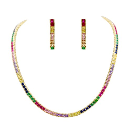 "Gold Plated With Multi Color Prnicess Cut 4MM Tennis Necklaces 16""+2' Lengh"