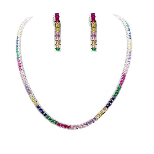 "Rhodium Plated With Multi Color Prnicess Cut 4MM Tennis Necklaces 16""+3' Lengh"
