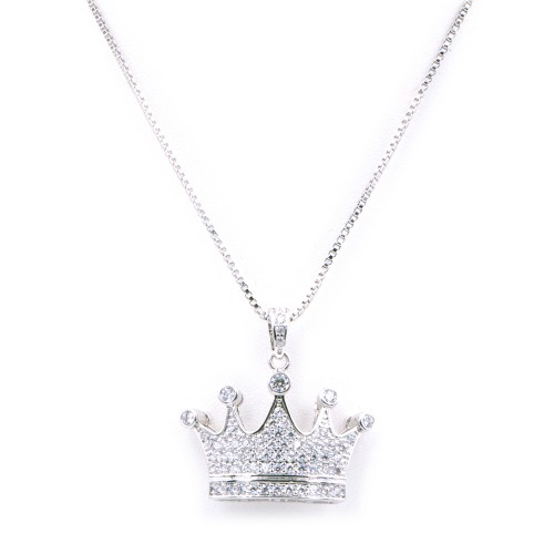 Rhodium Plated With Box Chain Crown Pendant Necklaces