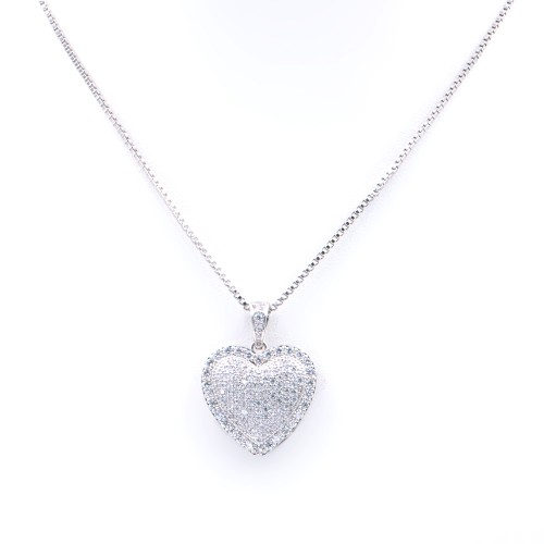Rhodium Plated With Box Chain Heart Pendant Necklace