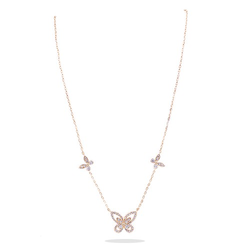 Butterfly Gold Plated With CZ Fish Hook Necklace