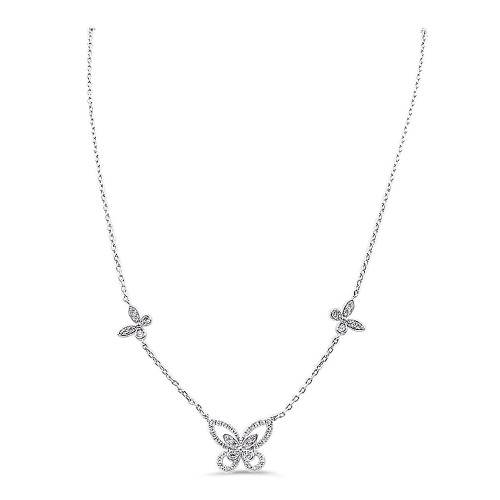 Butterfly Rhodium Plated With CZ Fish Hook Necklace