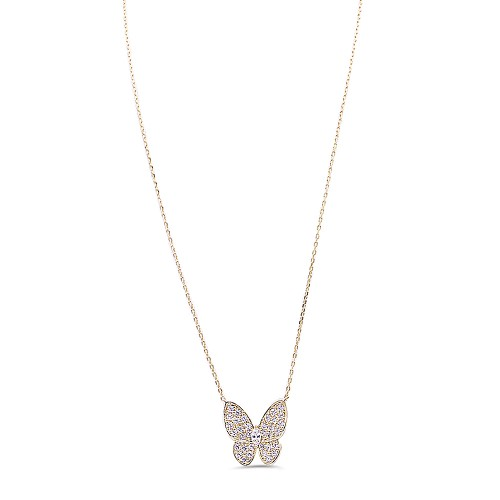 Shinny Butterfly Gold Plated With CZ Necklace