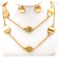 "Gold Plated 36"" Long Fashion Statement Neckalce With Earrings"