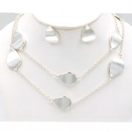 "Silver Plated 36"" Long Fashion Statement Neckalce With Earrings"