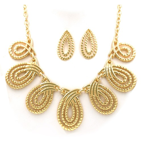Gold Plated with Fashion Statement Necklaces With Earrings Sets
