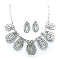 Rhodium Plated with Fashion Statement Necklaces With Earrings Sets
