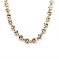 """Gold Plated With Clear Crystal Station Fashion Statement Necklaces 16""""+3"""" Extention"""