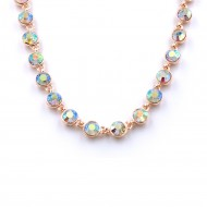 """Rose Gold Plated With Clear Crystal Station Fashion Statement Necklaces 16""""+3"""" Extention"""