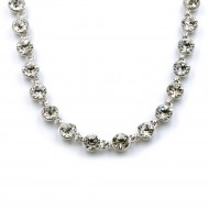 """Rhodium Plated With Clear Crystal Station Fashion Statement Necklaces 16""""+3"""" Extention"""