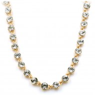 """Gold Plated with Clear Crystal Station Fashion Statement Necklaces 32""""+3"""" Extention"""