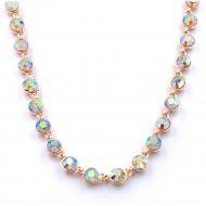 """Rose Gold Plated With Clear Crystal Station Fashion Statement Necklaces 32""""+3"""" Extention"""