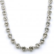 """Rhodium Plated With Clear Crystal Station Fashion Statement Necklaces 32""""+3"""" Extention"""