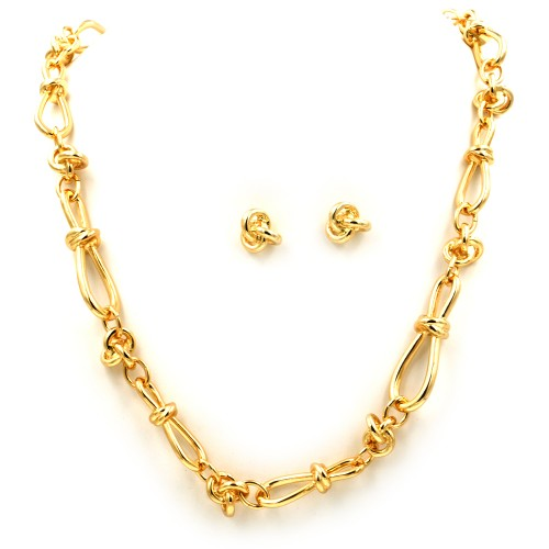 "Gold Plated 33"" Long Fashion Statement Necklaces With Earrings Sets"