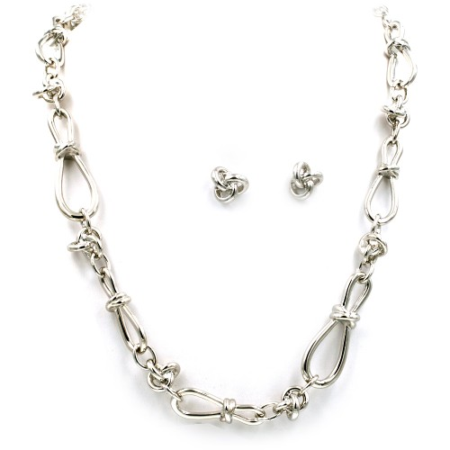 "Rhodium Plated 32"" Long Fashion Statement Necklaces With Earrings Sets"