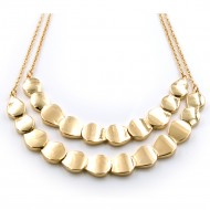 Gold Plated with Two Row Fashion Statement Necklaces